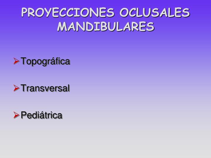 PROYECCIONES OCLUSALES MANDIBULARES
