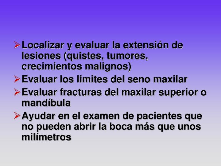 Localizar y evaluar la extensión de lesiones (quistes, tumores, crecimientos malignos)