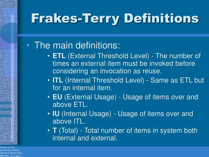 Frakes-Terry Definitions