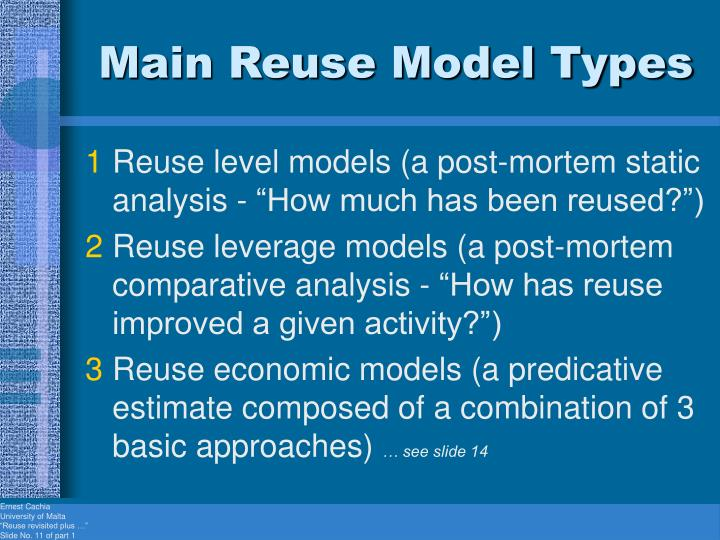 Main Reuse Model Types