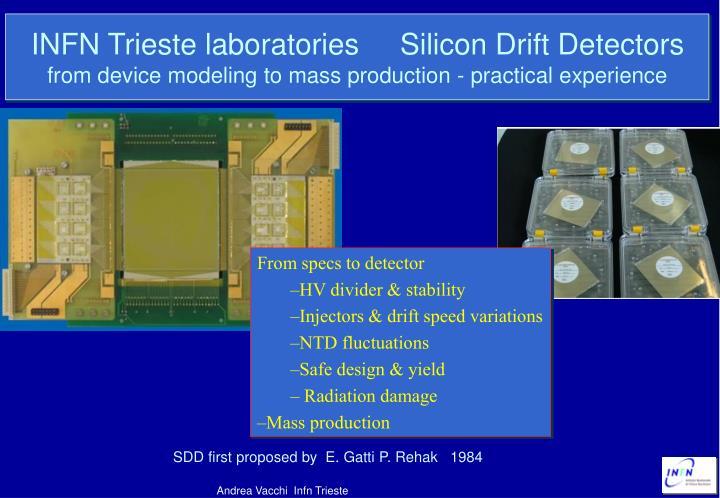 INFN Trieste laboratories     Silicon Drift Detectors