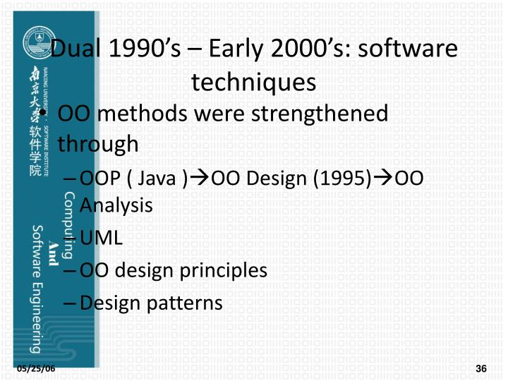 Dual 1990's – Early 2000's: software techniques