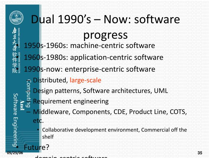 Dual 1990's – Now: software progress