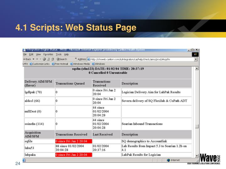 4.1 Scripts: Web Status Page