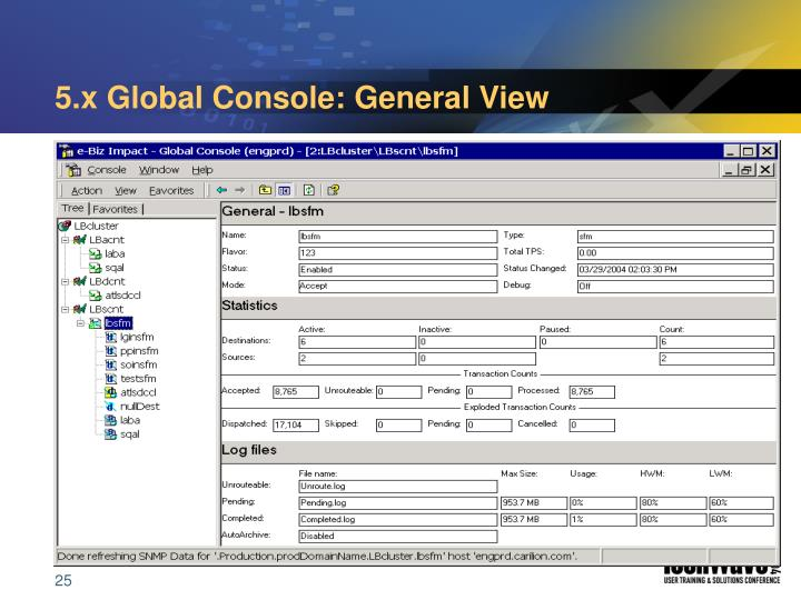 5.x Global Console: General View