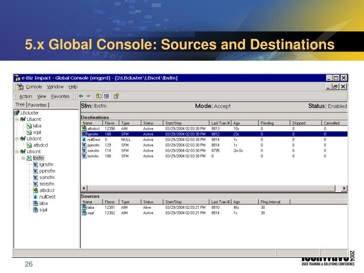 5.x Global Console: Sources and Destinations