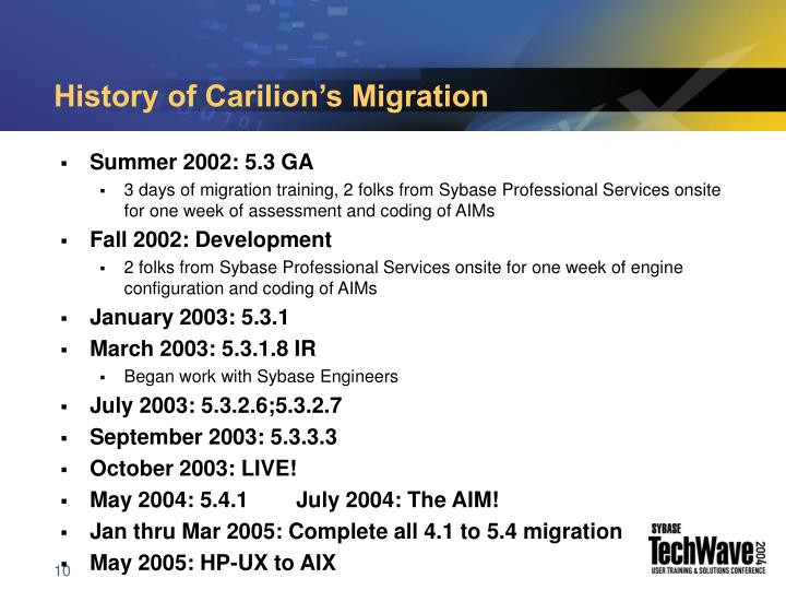 History of Carilion's Migration