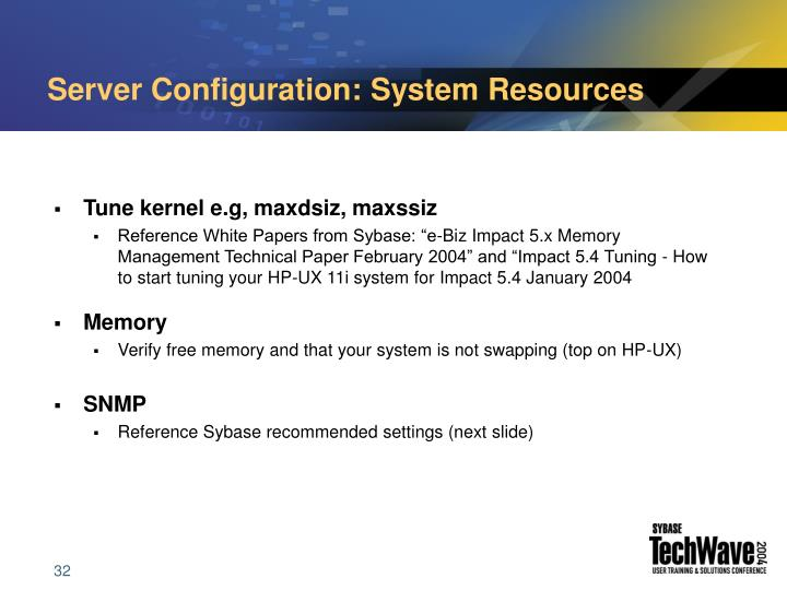 Server Configuration: System Resources