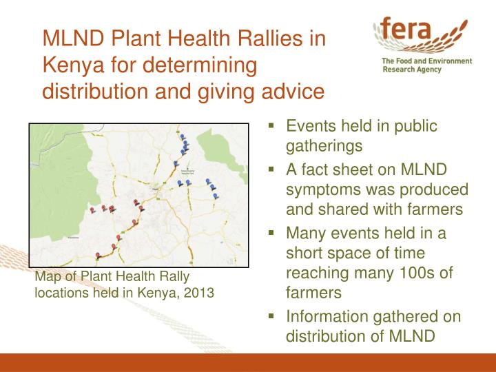 MLND Plant Health Rallies in Kenya for determining distribution and giving advice