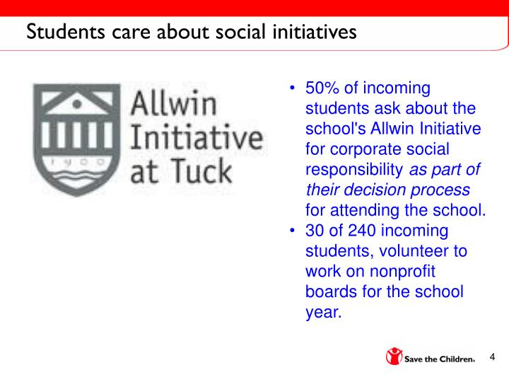 Students care about social initiatives