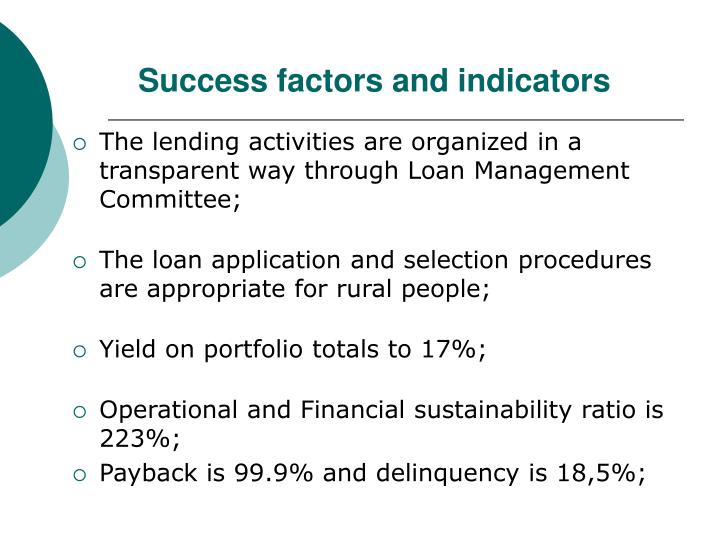 Success factors and indicators