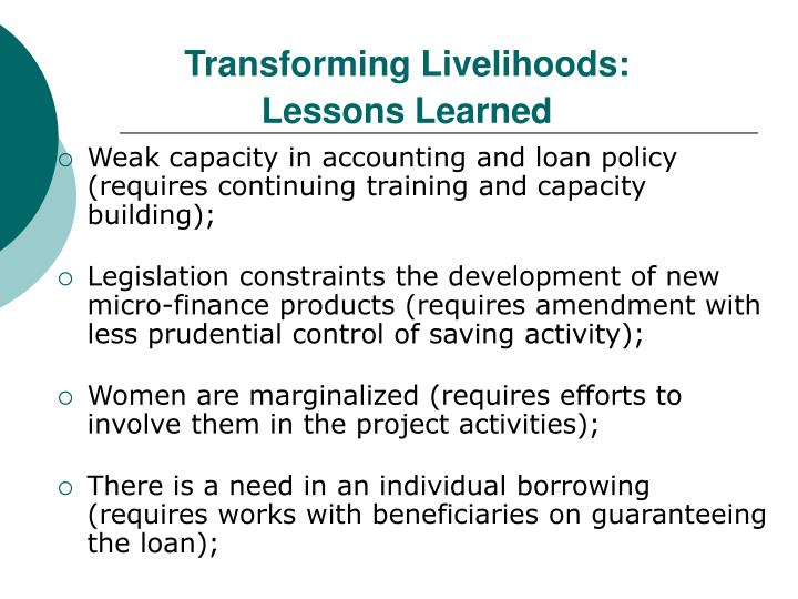 Transforming Livelihoods: Lessons Learned
