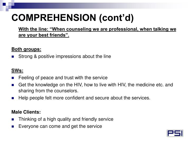 COMPREHENSION (cont'd)