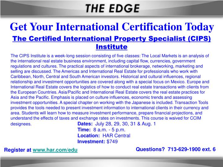Get Your International Certification Today