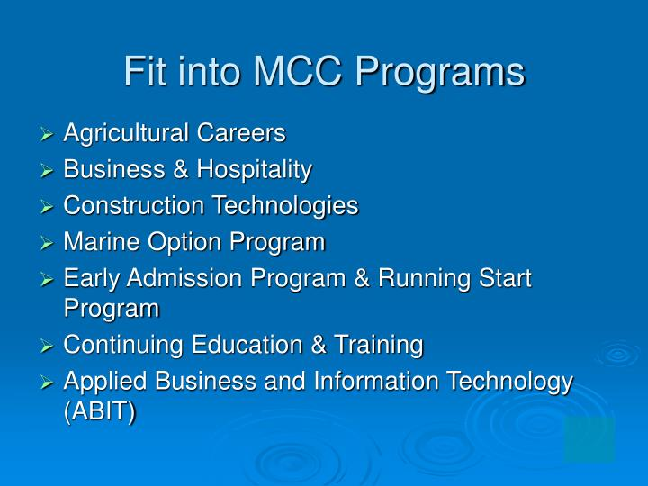 Fit into MCC Programs