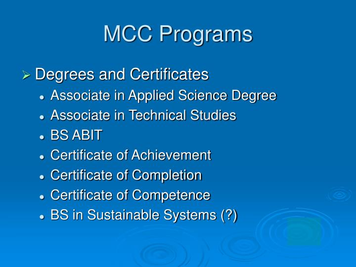 MCC Programs