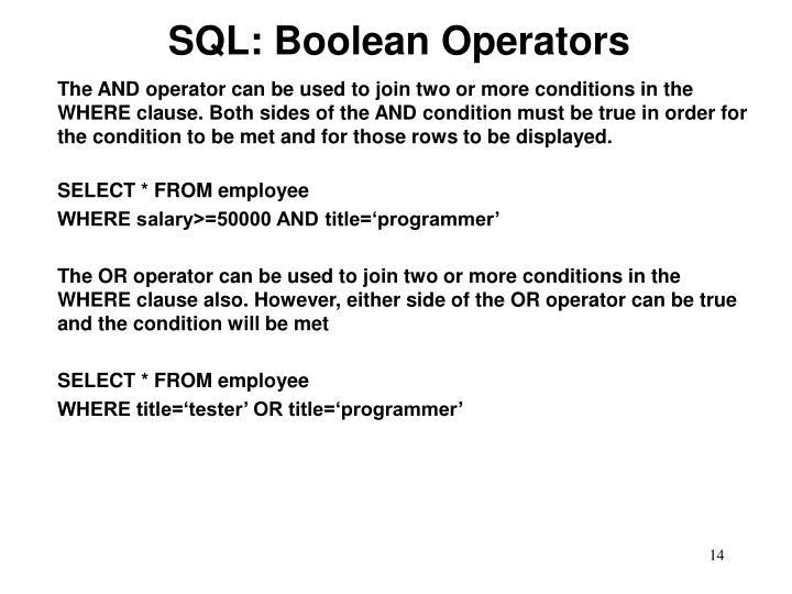 SQL: Boolean Operators