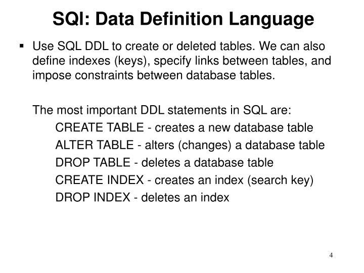 SQl: Data Definition Language