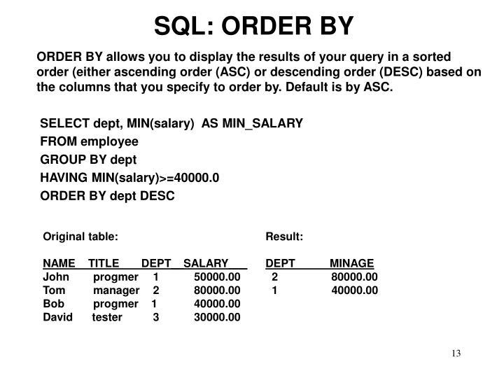 SQL: ORDER BY