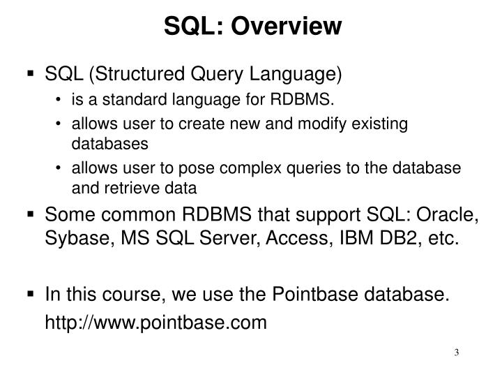 SQL: Overview