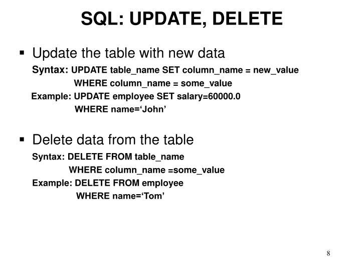 SQL: UPDATE, DELETE