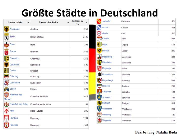 Größte Städte in Deutschland