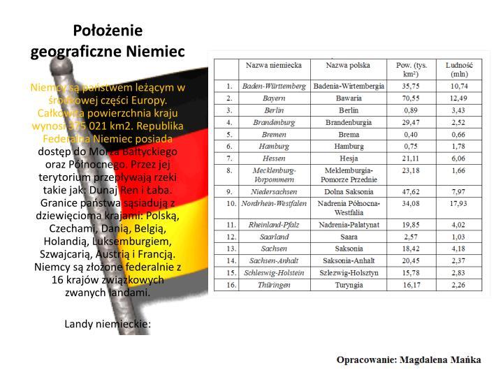 Położenie geograficzne Niemiec