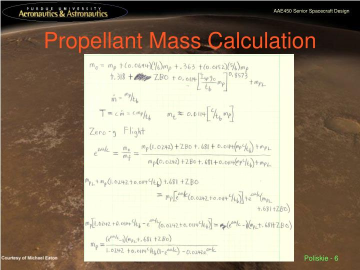 Propellant Mass Calculation
