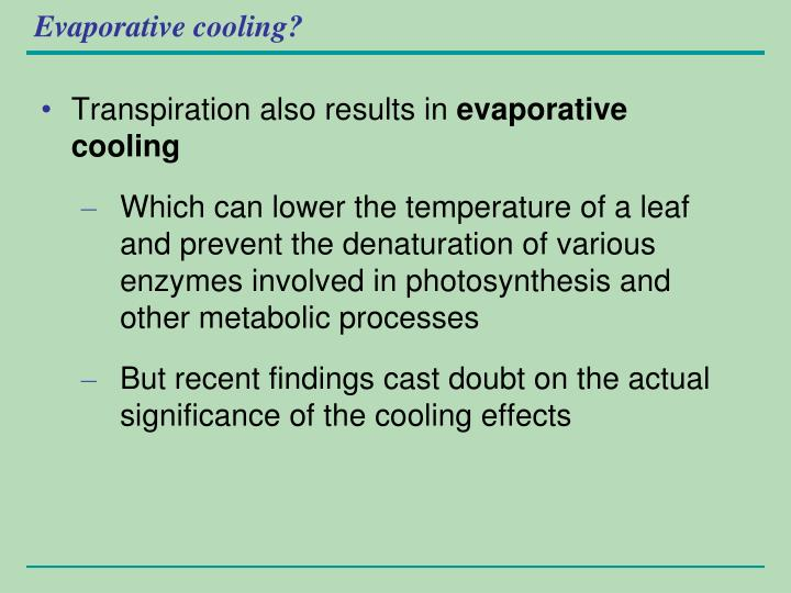 Evaporative cooling?