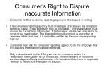 consumer s right to dispute inaccurate information