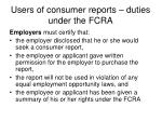 users of consumer reports duties under the fcra2