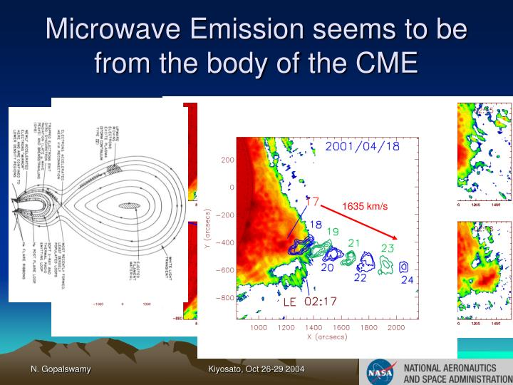 Microwave Emission seems to be from the body of the CME
