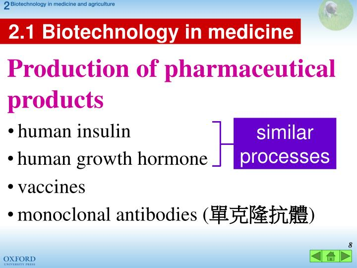 2.1 Biotechnology in medicine