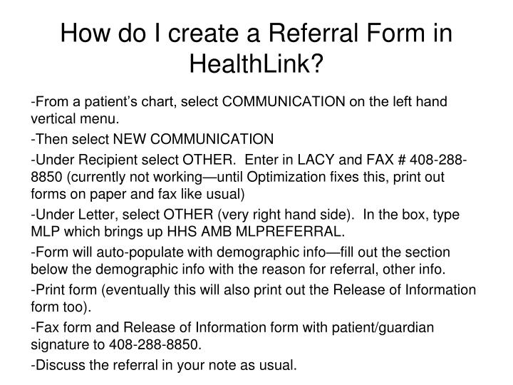 How do I create a Referral Form in HealthLink?