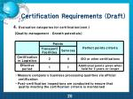 certification requirements draft17