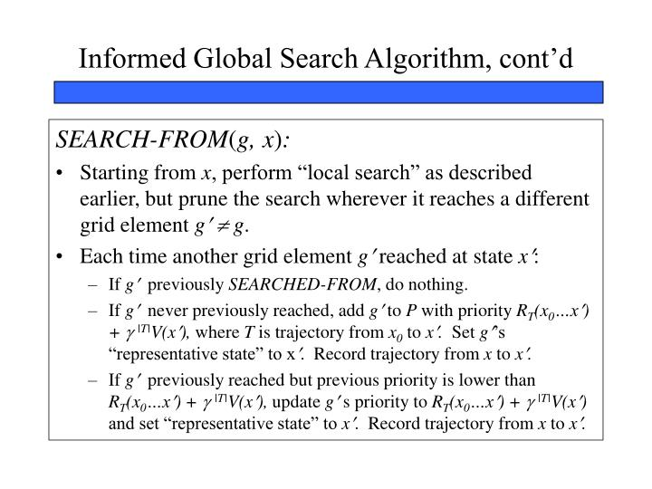 Informed Global Search Algorithm, cont'd