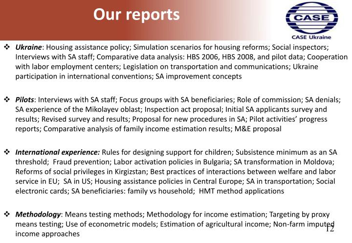 Our reports