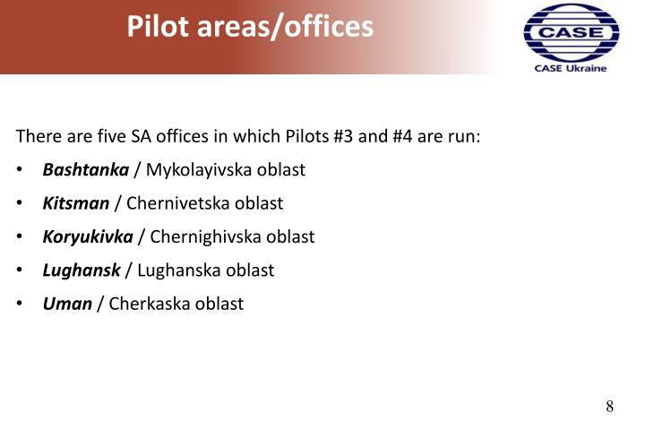 Pilot areas/offices