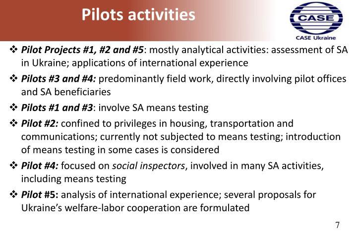 Pilots activities