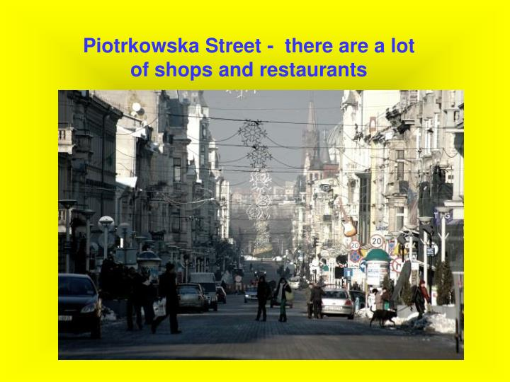 Piotrkowska Street -  there are a lot of shops and restaurants