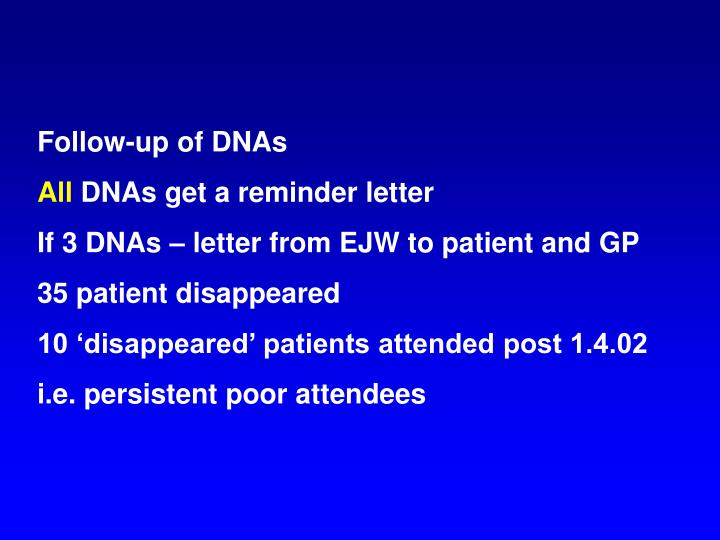 Follow-up of DNAs