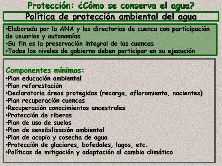 Política de protección ambiental del agua