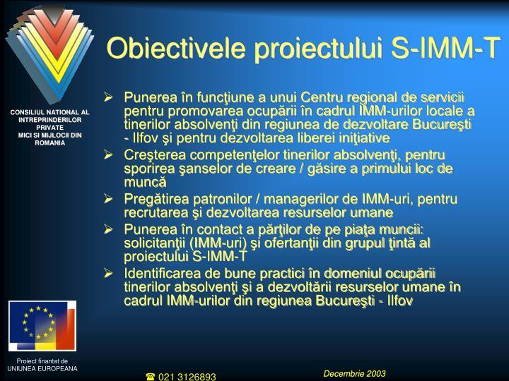 Obiectivele proiectului S-IMM