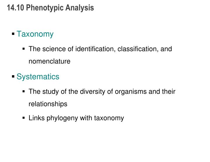 14.10 Phenotypic Analysis