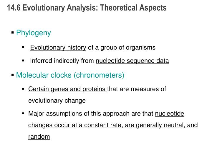 14.6 Evolutionary Analysis: Theoretical Aspects