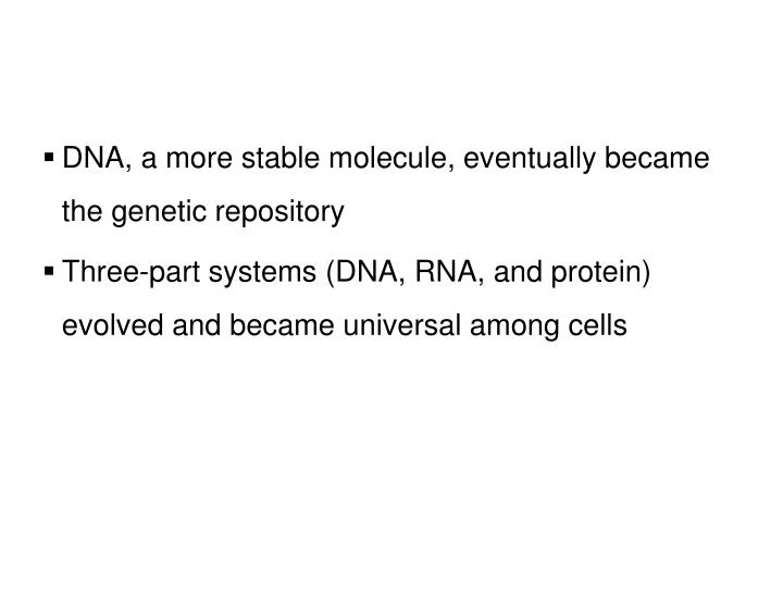 DNA, a more stable molecule, eventually became the genetic repository