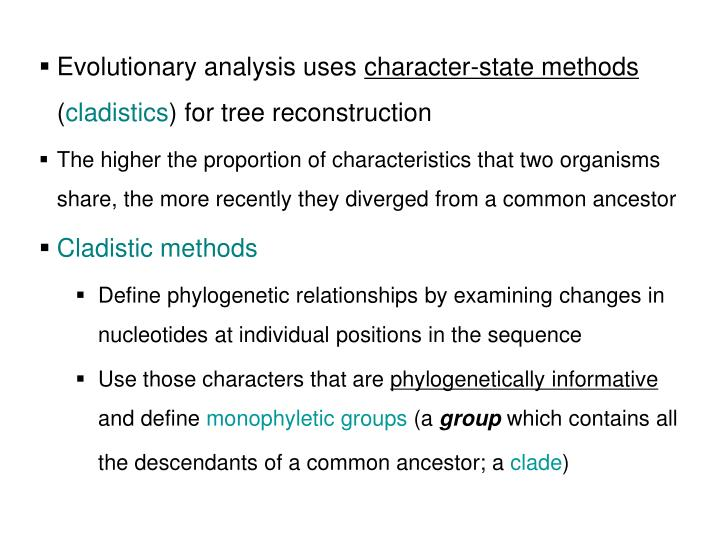 Evolutionary analysis uses