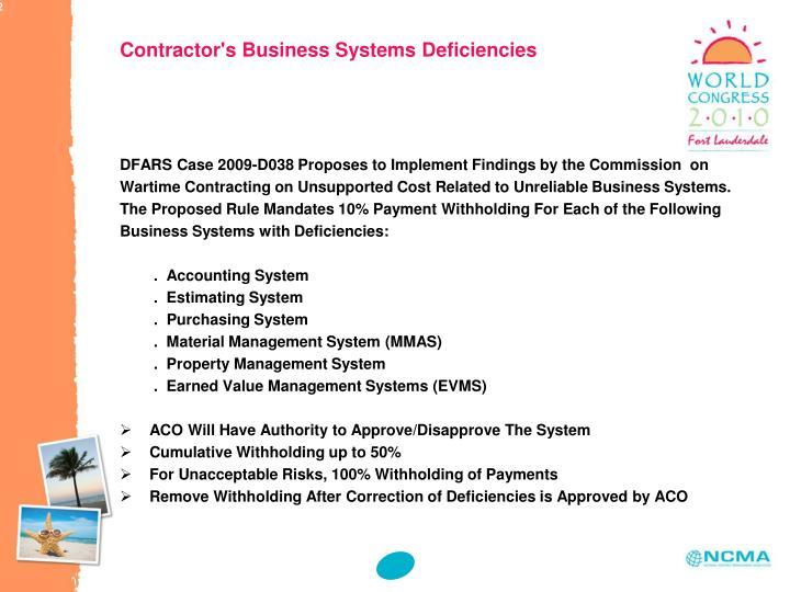 Contractor's Business Systems Deficiencies