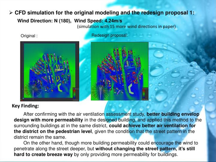 CFD simulation for the original modeling and the redesign proposal 1: