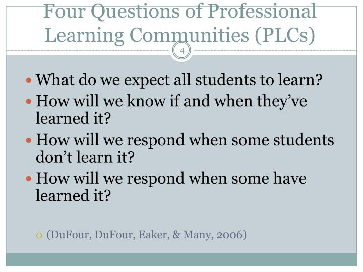 Four Questions of Professional Learning Communities (PLCs)